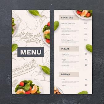 Hand gezeichnetes rustikales restaurantmenü mit foto
