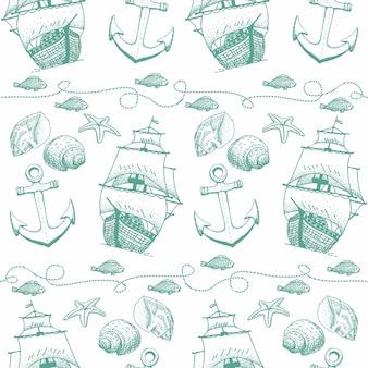 Hand gezeichnetes saylor nahtloses muster mit schiff