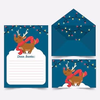 Hand gezeichnetes schablonenweihnachtsbriefpapier