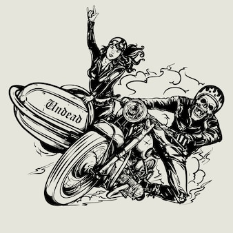 Hand gezeichnetes schädelradfahrer-reitweinlese-motorrad