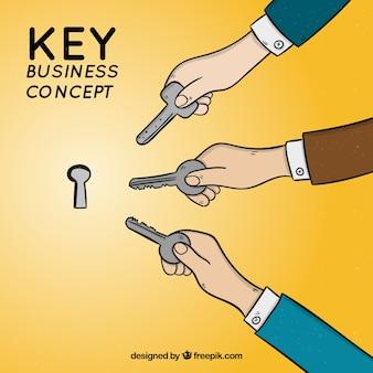 Hand gezeichnetes Schlüsselgeschäftskonzept
