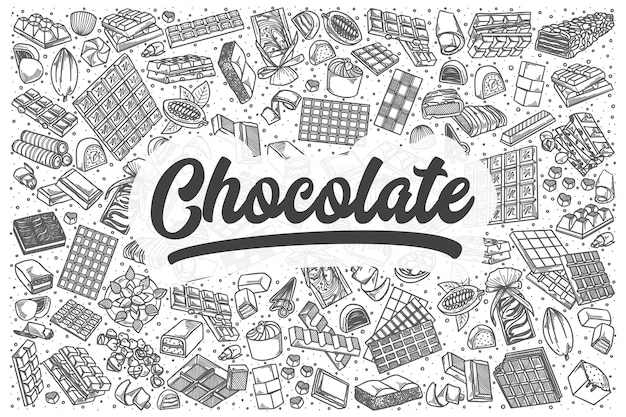 Hand gezeichnetes schokoladenkritzelset. schriftzug - schokolade