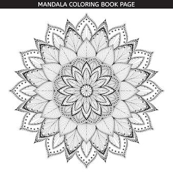 Hand gezeichnetes schwarzes mandala auf weißem hintergrund