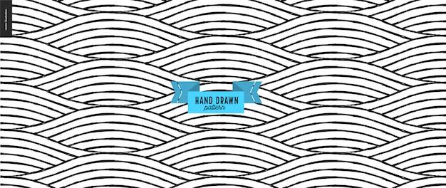 Hand gezeichnetes schwarzes, weißes geometrisches muster. vektor nahtlose muster