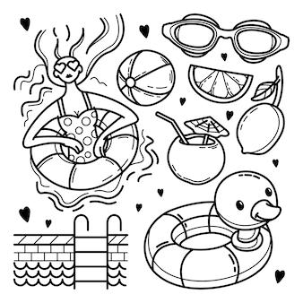 Hand gezeichnetes schwimmbadkritzelset
