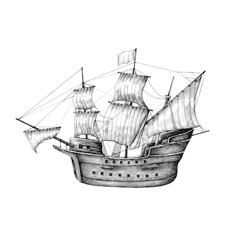Hand gezeichnetes segelboot getrennt auf hintergrund