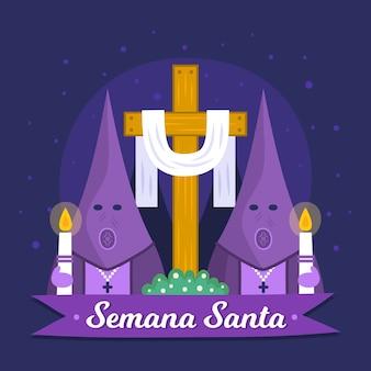 Hand gezeichnetes semana santa konzept