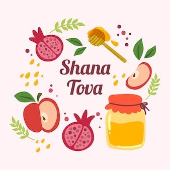 Hand gezeichnetes shana tova-konzept