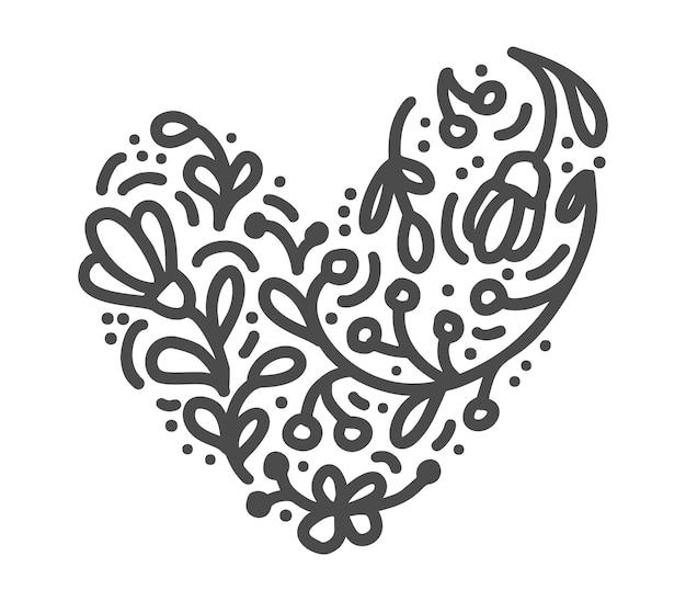 Hand gezeichnetes skandinavisches velentines tagesherz mit verzierungsflourish-ikonenschattenbild