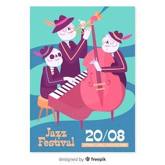 Hand gezeichnetes skelettjazzmusik-festivalplakat