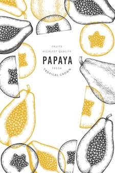 Hand gezeichnetes skizzenartpapaya-banner.