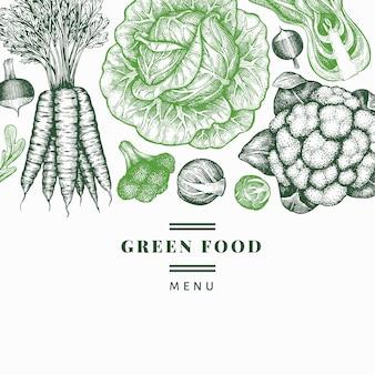 Hand gezeichnetes skizzengemüse. bio-vorlage für frische lebensmittel. retro gemüsehintergrund. .