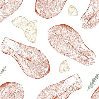 Hand gezeichnetes skizzenillustrations-lachssteak, nahtloser mustervektor.