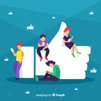 Hand gezeichnetes social media der jungen leute mögen konzepthintergrund