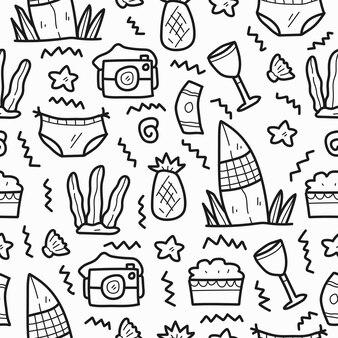 Hand gezeichnetes sommer-kawaii-gekritzelkarikatur-musterdesign