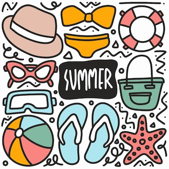Hand gezeichnetes sommerferienkritzelset mit ikonen und gestaltungselementen