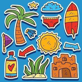 Hand gezeichnetes sommergekritzelkarikaturaufkleberdesign