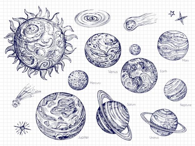 Hand gezeichnetes sonnensystem und raumelemente setzen vektordesign