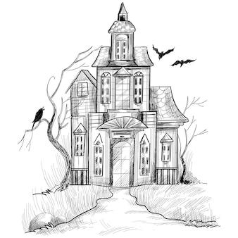 Hand gezeichnetes spuk-halloween-hausskizzenentwurf
