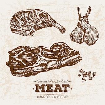 Hand gezeichnetes steak