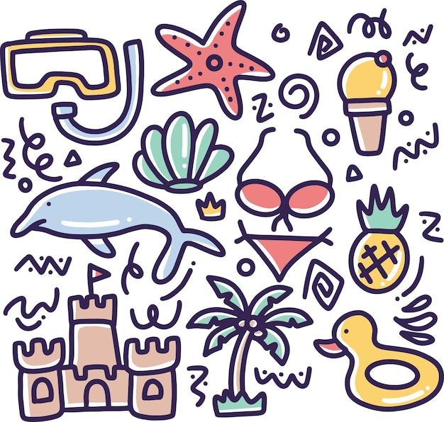 Hand gezeichnetes strandkritzelset mit symbolen und gestaltungselementen