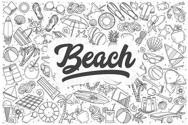 Hand gezeichnetes strandkritzelset. schriftzug - strand
