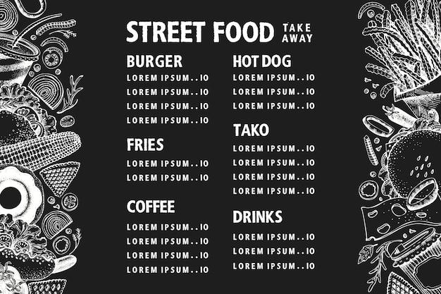 Hand gezeichnetes straßenlebensmittelbanner. vektor-fast-food-illustrationen auf kreidetafel. weinlese-junk-food-hintergrund