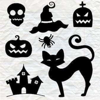 Hand gezeichnetes strukturiertes halloween-set eines sarges, des kürbises, des schädels und der spinne