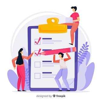 Hand gezeichnetes teamckecking große checklistenillustration
