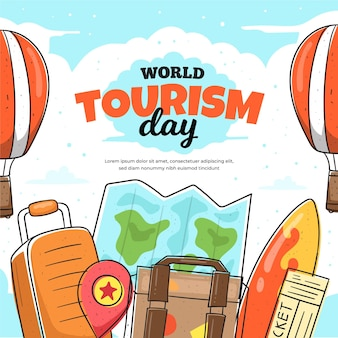Hand gezeichnetes tourismus-tageskonzept