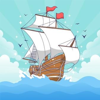 Hand gezeichnetes traditionelles piratenschiff
