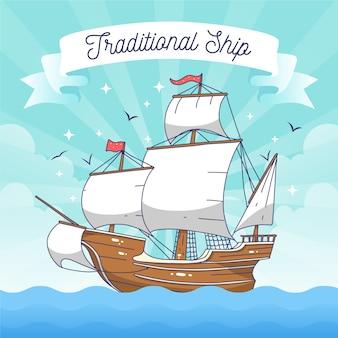 Hand gezeichnetes traditionelles segelschiff