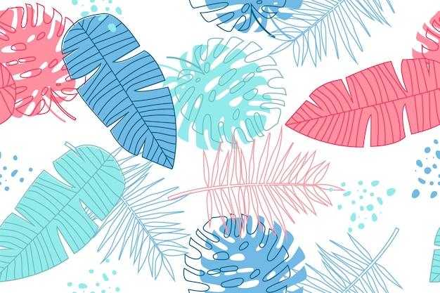 Hand gezeichnetes tropisches sommermuster