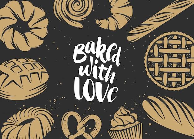 Hand gezeichnetes typografiedesign, gebacken mit liebe.