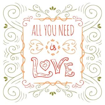 Hand gezeichnetes typografieplakat. plakat für liebhaber, valentinstag, speichern sie die datumseinladung.