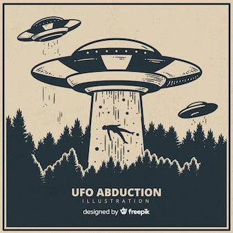 Hand gezeichnetes ufo-abduktionskonzept