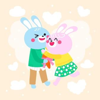 Hand gezeichnetes valentinstag-kaninchenpaar