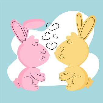 Hand gezeichnetes valentinstag-tierpaar