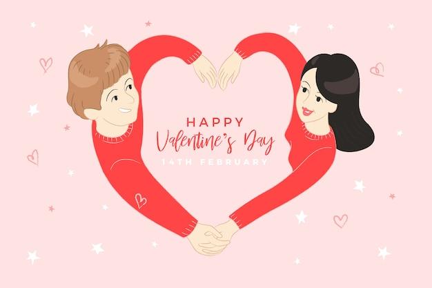 Hand gezeichnetes valentinstaghintergrundkonzept