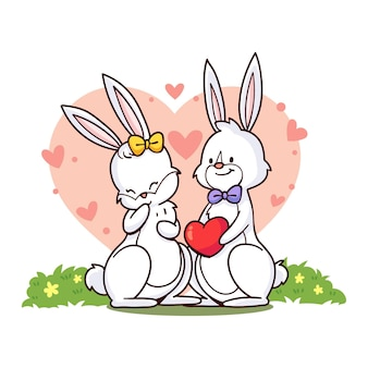 Hand gezeichnetes valentinstagkaninchenpaar