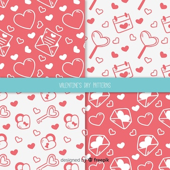 Hand gezeichnetes valentinstagmuster