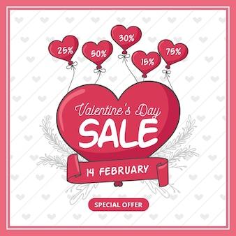 Hand gezeichnetes valentinstagquadrat-banner zum verkauf