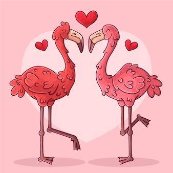 Hand gezeichnetes valentinstagstierpaar