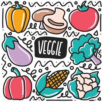 Hand gezeichnetes vegetarisches gekritzel gesetzt mit ikonen und gestaltungselementen