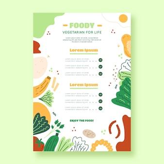 Hand gezeichnetes vegetarisches menü des flachen designs