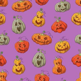 Hand gezeichnetes vektormuster mit halloween-kürbisen.