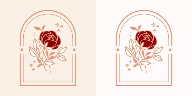 Hand gezeichnetes vintage botanisches rosenblumenlogo und elegantes schönheitsmarkenelement