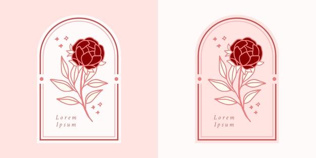 Hand gezeichnetes vintage botanisches rosenblumenlogo und rosa schönheitsmarkenelement