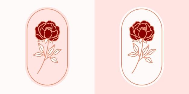 Hand gezeichnetes vintage botanisches rosenblumenlogo und rosa weibliches schönheitsmarkenelement