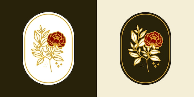 Hand gezeichnetes vintage botanisches rosenblumenlogo und weibliches schönheitsmarkenelement